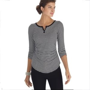 WHBM Black/White stripe Henley top shirt XS 00 0 2
